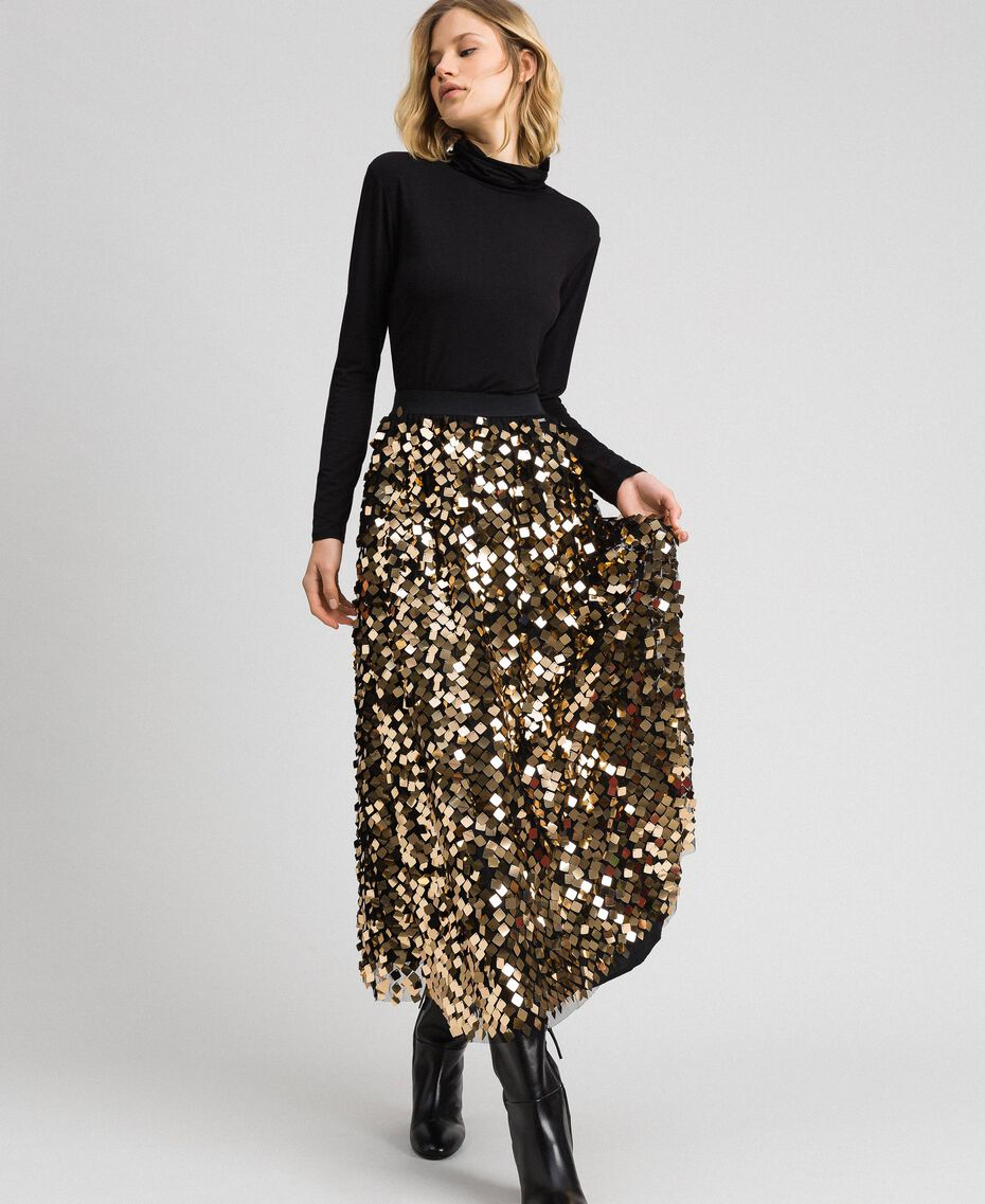 Midi skirt with sequins on tulle Sequin Embroidery Woman 192ST2213-02