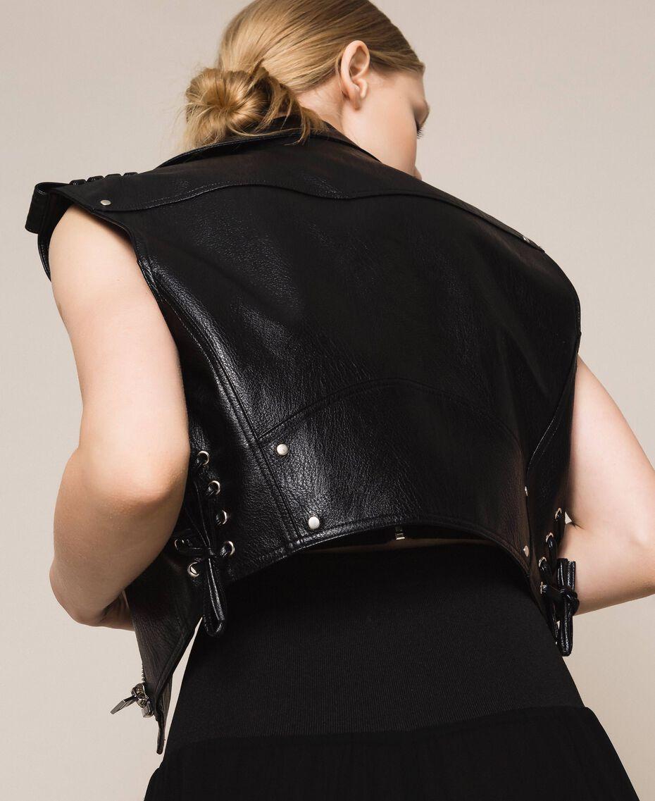 Perfecto sans manches en similicuir Noir Femme 201MT2200-03