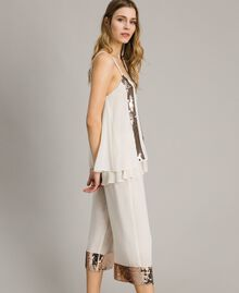 """Cropped trousers with sequins """"Milkway"""" Beige Woman 191LM2CBB-02"""