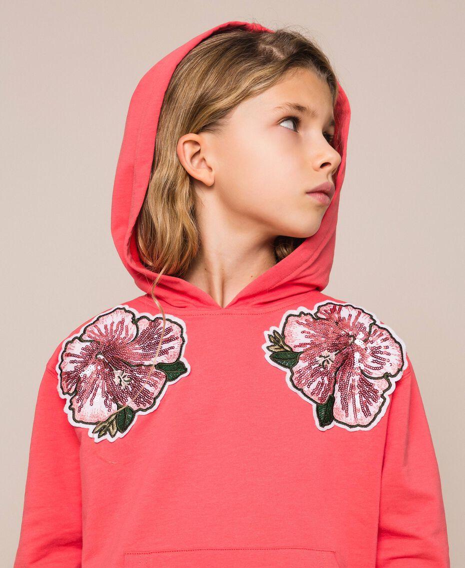 """Felpa con paillettes Rosso """"Calypso Coral"""" Bambina 201GJ2300-01"""