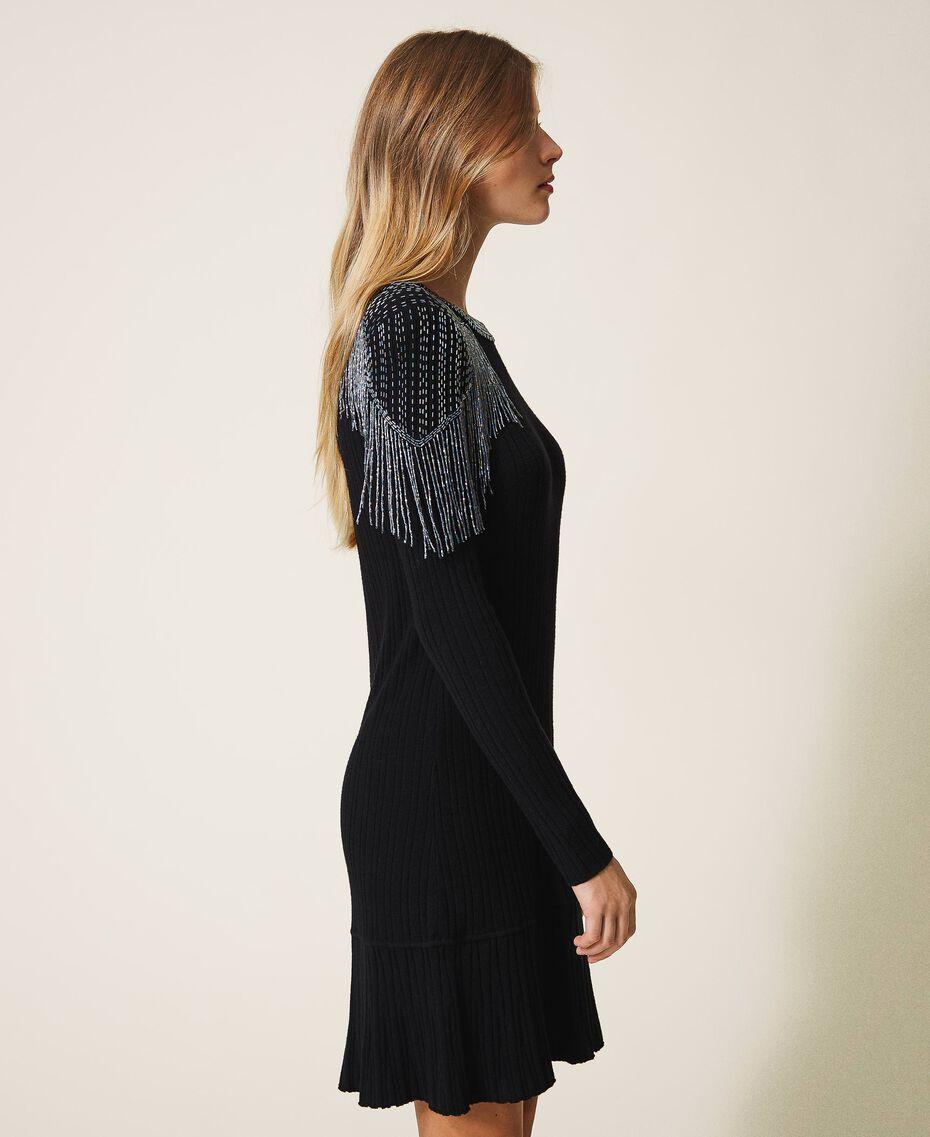 Robe en maille côtelée avec franges Noir Femme 202TT3211-02