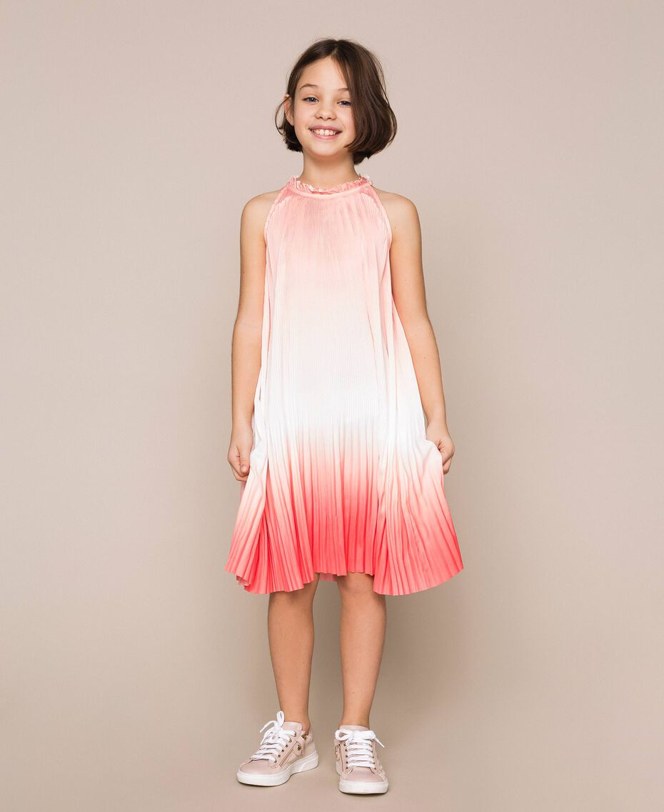 "Fadeout pleated satin dress ""Calypso Coral"" Red Multicolour Print Child 201GJ2200-01"