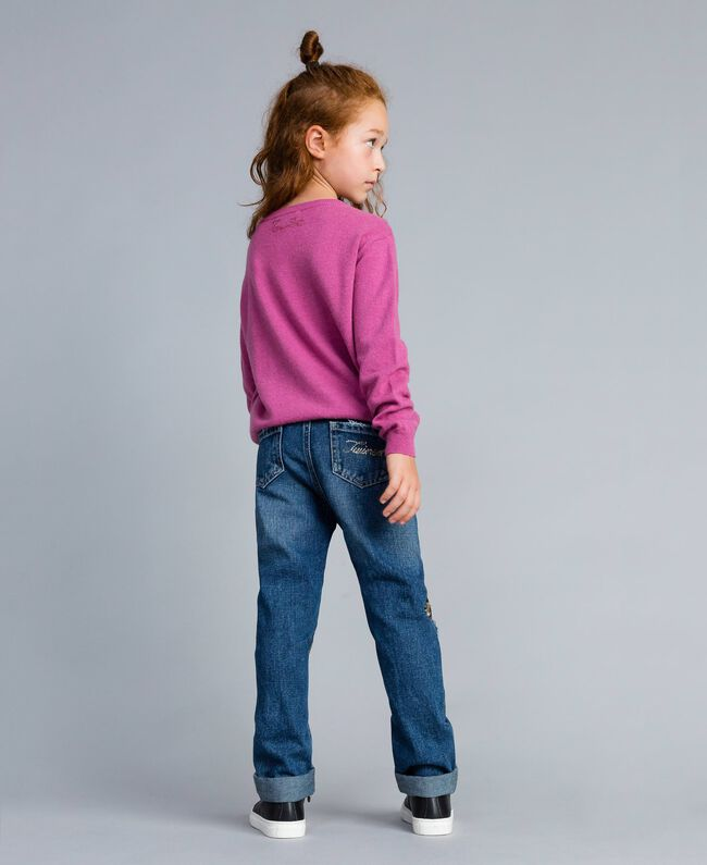 "Jeans in denim con paillettes Bicolor Blu Denim / Paillettes Rosa ""Bouganville"" Bambina GA82PD-03"