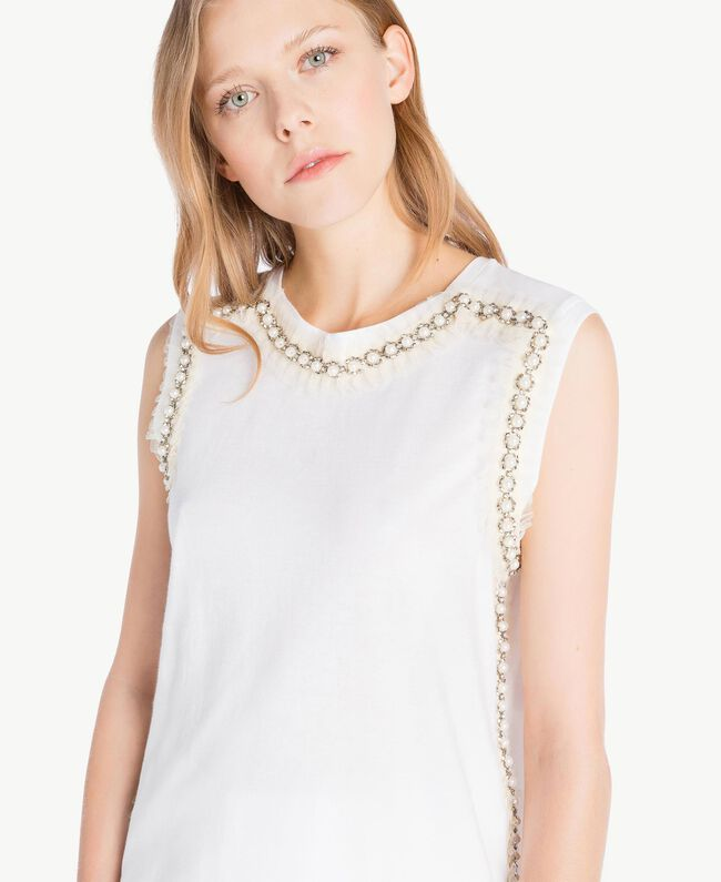 Embroidered tank top White Woman TS829W-04