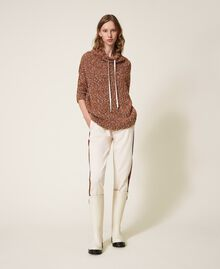 """Trousers with patent leather inlays Two-tone Cloud Pink / """"Terracotta"""" Brown Woman 202LI2JCC-02"""