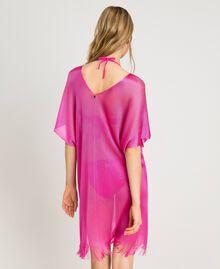 """Poncho à franges en laine brillante Fuschia """"Rose Psychédélique"""" Femme 191LB44CC-03"""