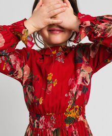 Robe en crêpe georgette avec imprimé floral Imprimé Fleurs des Champs Grenadier Enfant 192GJ2592-04