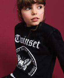 Oversize sweatshirt with print and lace Two-tone Black / Optical White Child 192GJ2391-04
