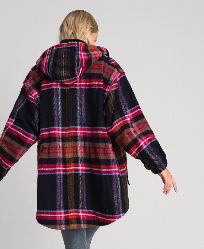 Parka en drap de laine mélangée à carreaux Carreaux Bleu Denim Femme 192MT2251-04