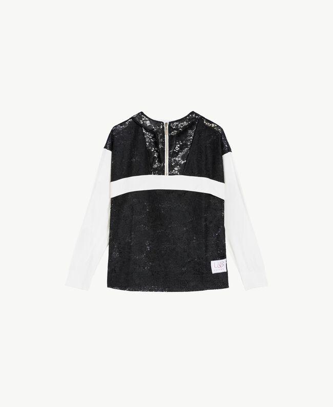 Sweat-shirt dentelle Bicolore Noir / Blanc Optique Femme LS89AA-01
