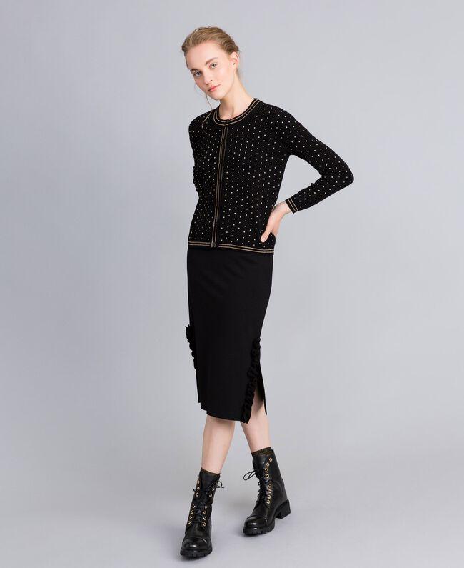 Gilet en viscose avec rayures lurex Noir Femme PA8351-01
