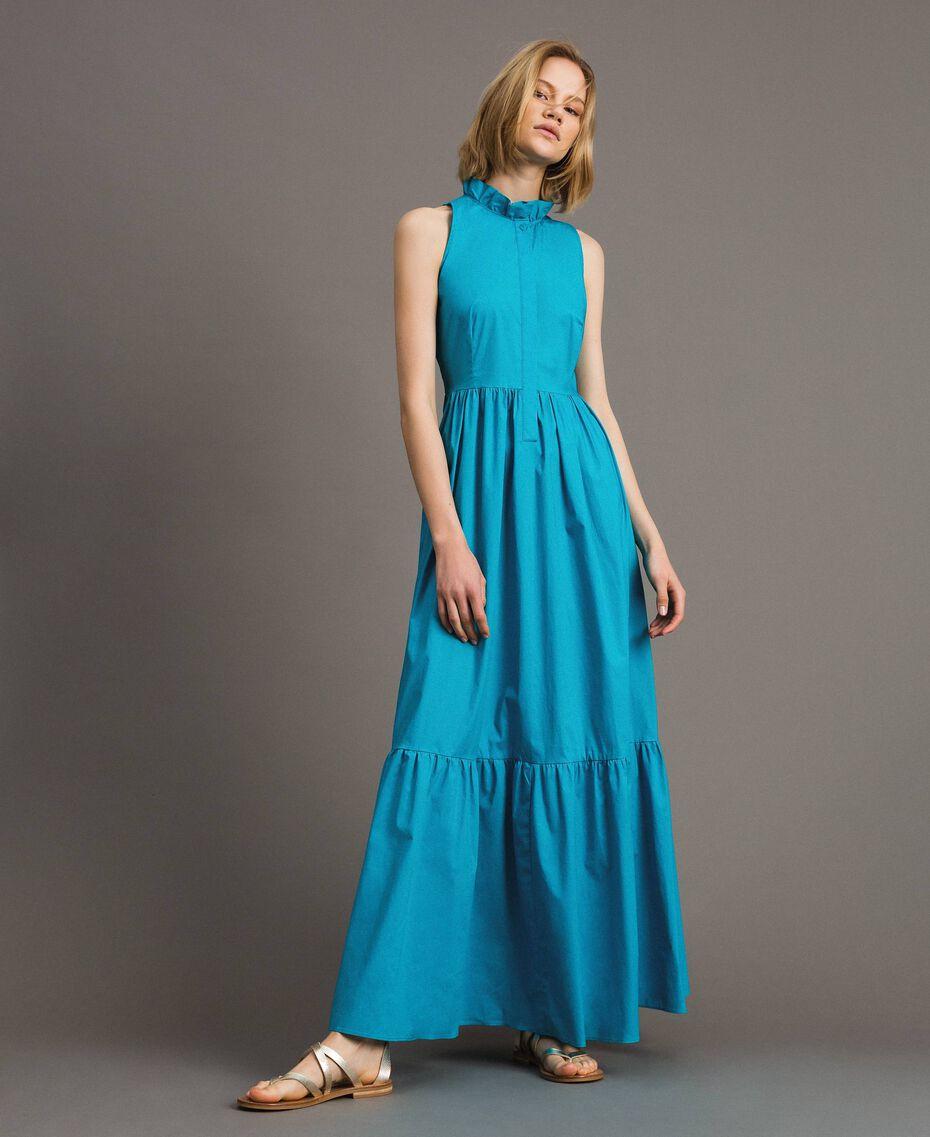 Robe longue en popeline Bleu Céramique Femme 191TT2233-01