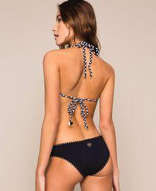 Triangle bikini top with rhinestone bands Two-tone Black / Optical White Woman 201LMMF22-03