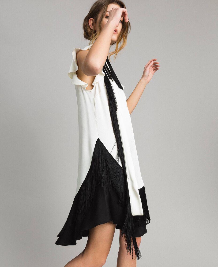 """Fringed belt dress Bicolour """"Snow"""" White / Black Woman 191TT2381-02"""
