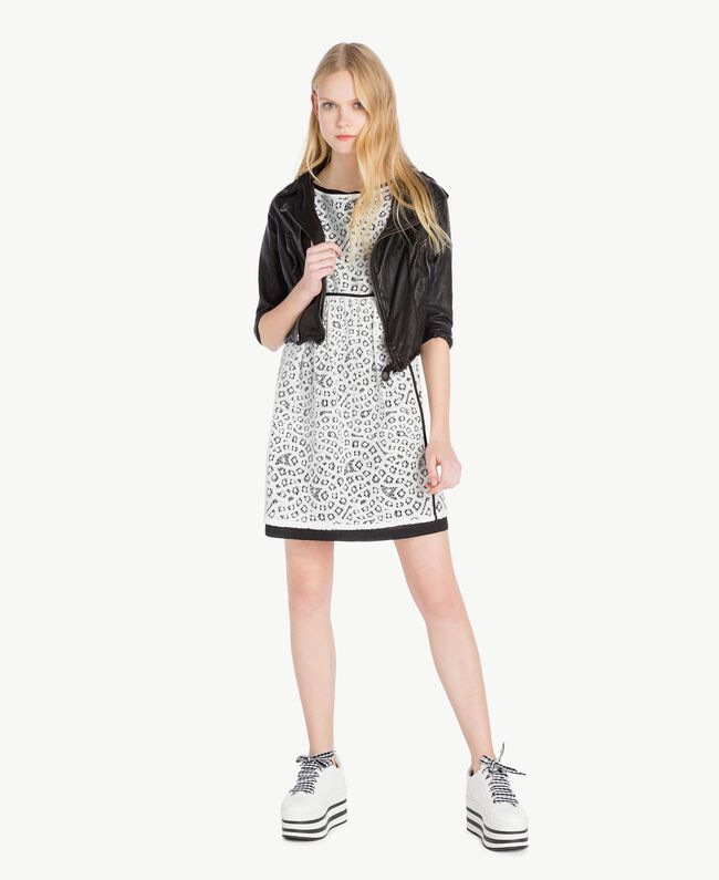 Robe dentelle Blanc Optique / Noir Femme YS83DA-05