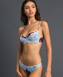 "Lace balconette bra with print ""Peach"" Pink Floral Print Woman 192LL6K33-01"