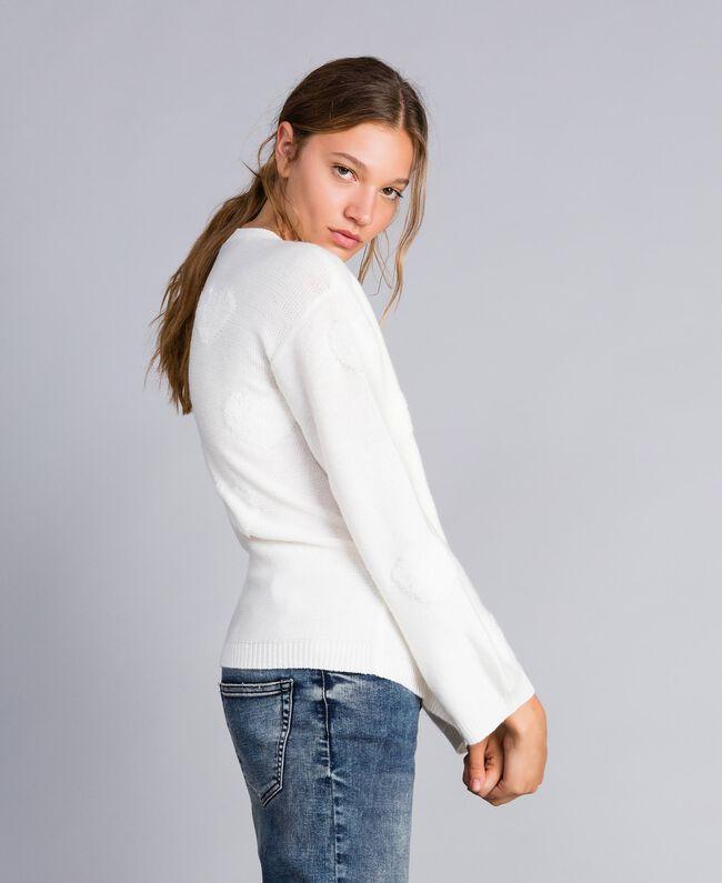 Pull en laine mélangée avec incrustation de cœurs Nacre Femme JA83E1-04