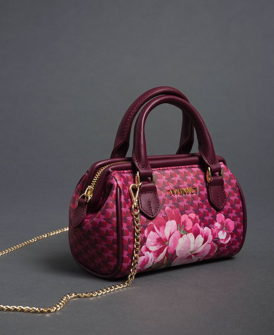 Printed faux leather mini bowler bag Beet Red Butterfly Floral Print Woman 192TA7018-01