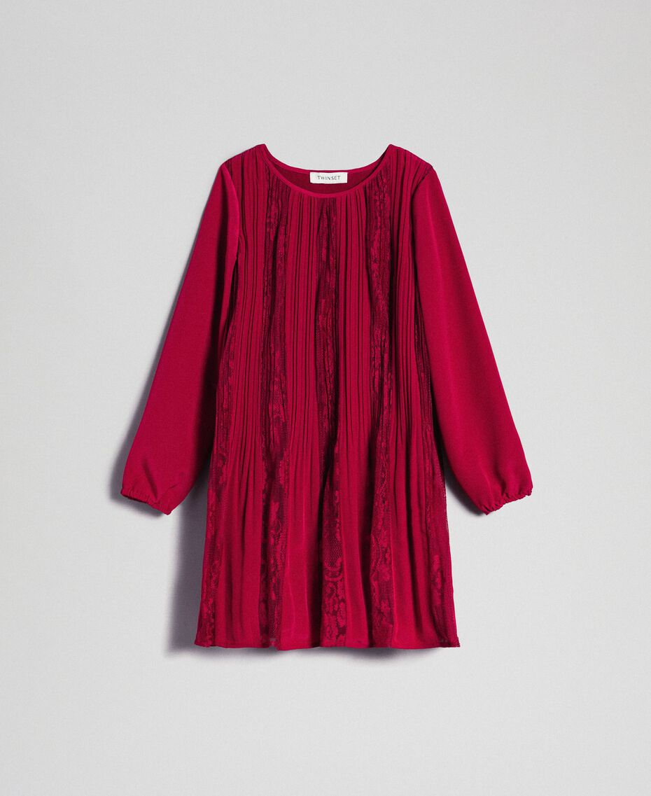 Pleated crêpe and lace dress Ruby Wine Red Child 192GJ2521-0S