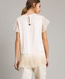 """T-shirt en satin avec franges Beige """"Voie Lactée"""" Femme 191LM2BBB-04"""