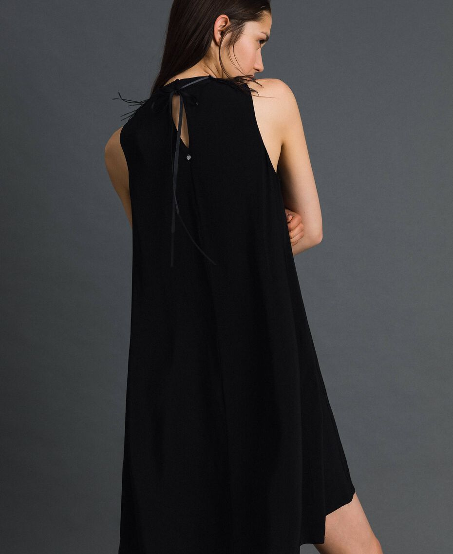 Georgette dress with removable jewel Black Woman 192TP2111-03