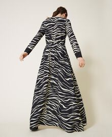 Animal print crêpe de Chine dress Black / Cream White Zebra Print Woman 202MP2430-04