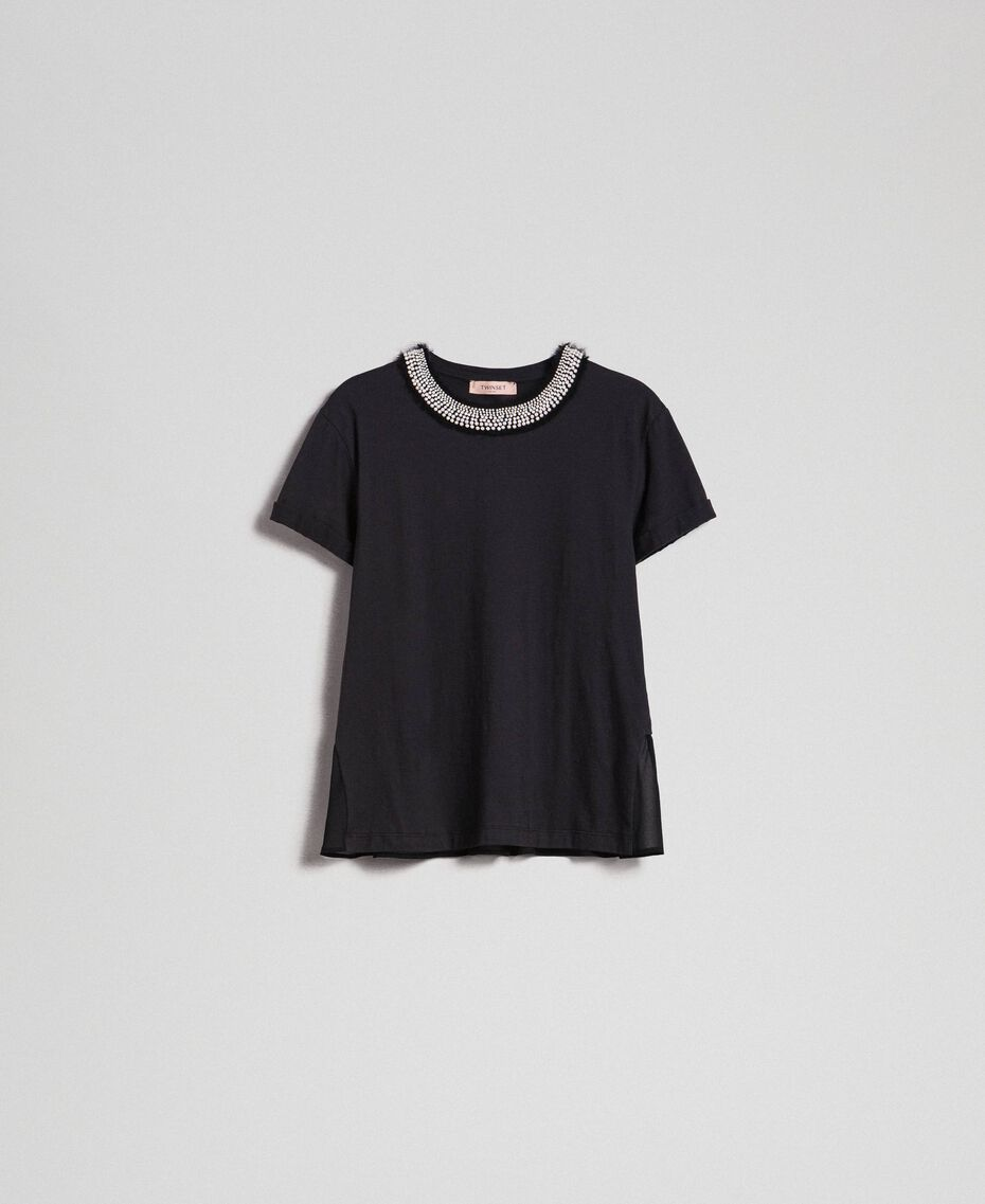 T-shirt with pearl jewel neckline Black Woman 192TT2562-0S