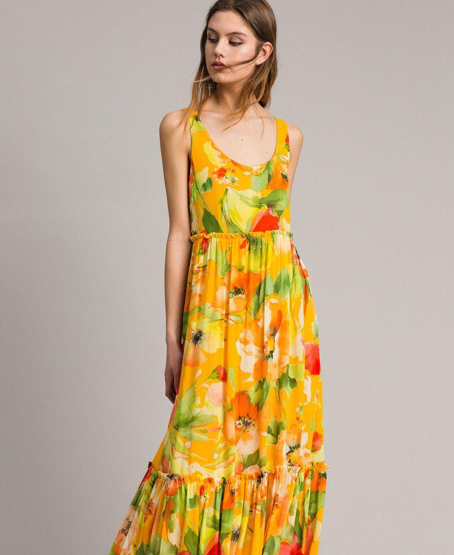 Georgette-Maxikleid mit Blumenmuster Motiv Gelbe Macro Blumen Frau 191TT2480-02