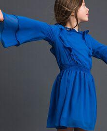"""Robe en crêpe georgette avec volant Bleu """"Méditerranée"""" Enfant 192GJ2350-02"""