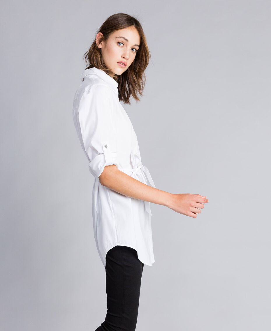 "Stretch poplin long shirt ""Ice"" White Woman JA82JA-02"