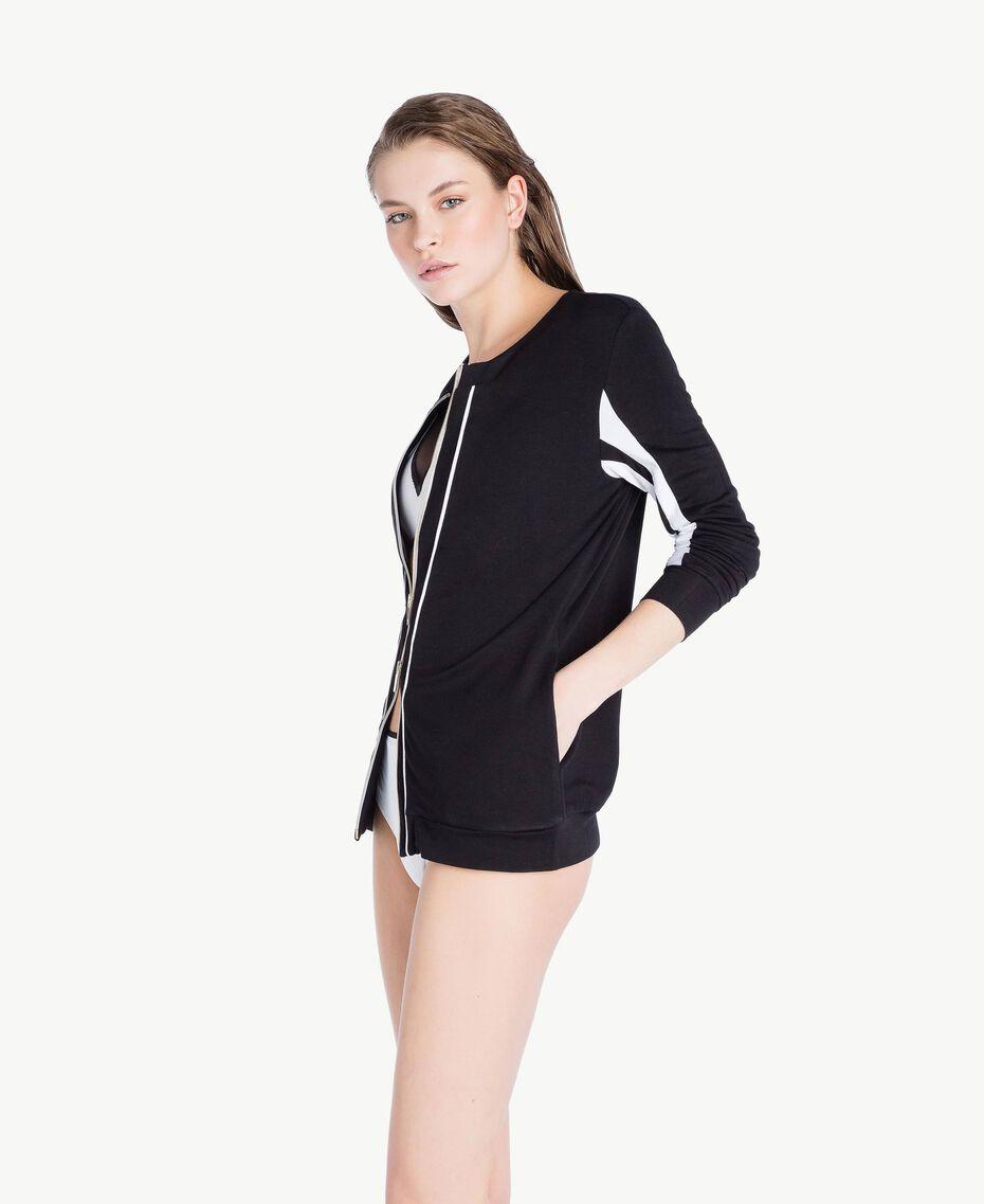 Sweat-shirt bicolore Noir Femme LS87GG-03