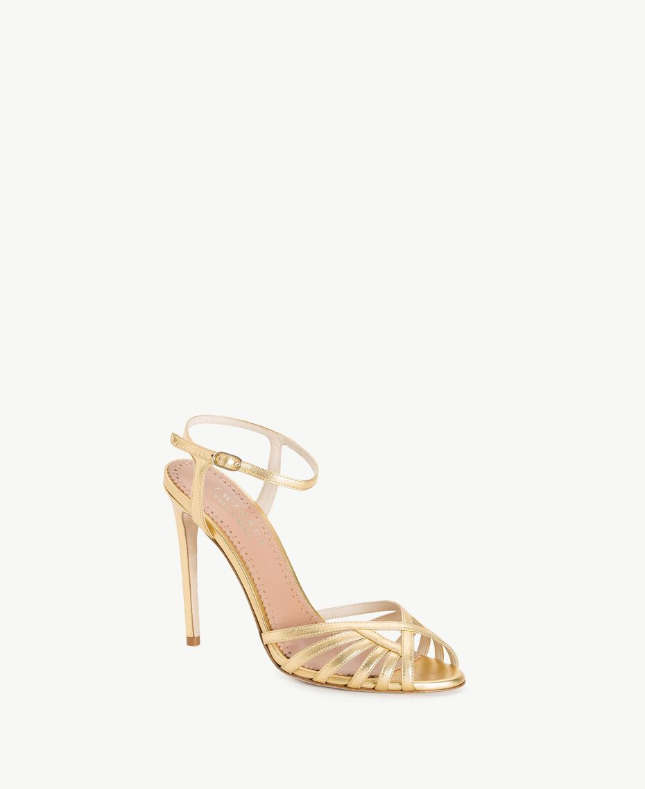 TWINSET Laminated sandals Gold Yellow Woman CS8TBG-02