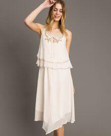 """Crepon besticktes Kleid """"Milkway"""" Beige Frau 191LB21BB-01"""