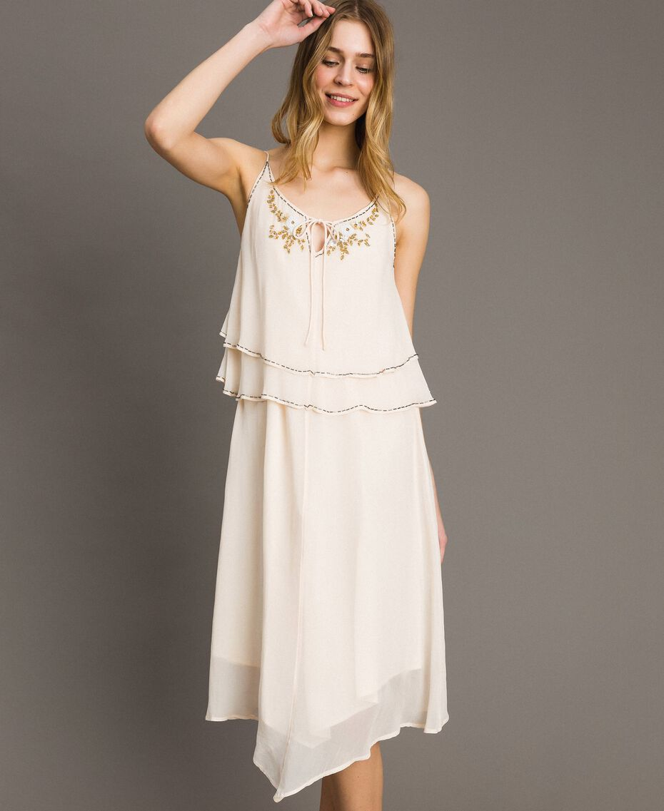 """Crepon embroidered dress """"Milkway"""" Beige Woman 191LB21BB-01"""