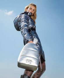 Quilted backpack with logo Silver Woman 202MO8020-0S