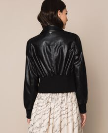 Faux leather jacket with waist band Black Woman 201MP2030-03