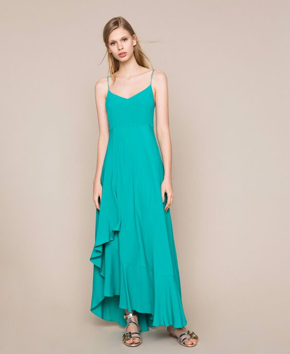 Long dress in silk blend crêpe de Chine