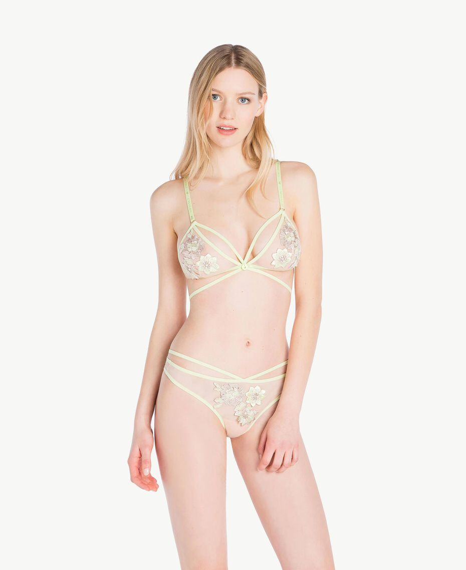 "Embroidered triangle bra Two-tone ""Soft Lime"" Yellow / ""Peach Powder"" Pink Woman LS8F22-02"