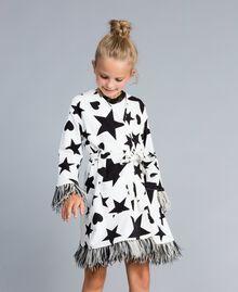 Fleece dressing gown with print Black / Off White Star Print Child GA828B-0S