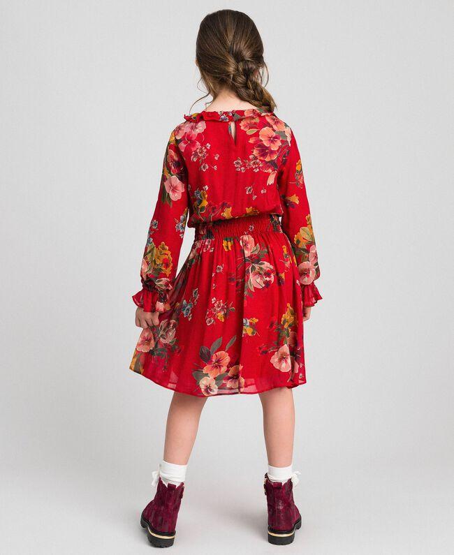 Kleid aus Georgette mit Blumenprint Feldblumenprint Granatapfel Kind 192GJ2592-03