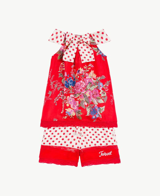 Maxi top and shorts Flowers Print / Pomegranate Red Polka Dot Print Child FS82PA-01