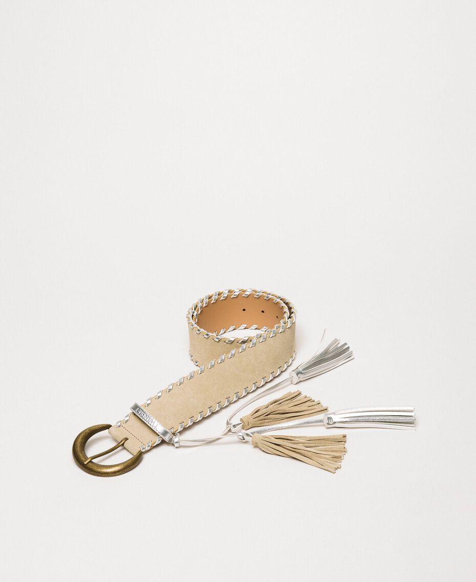 Cinturón de ante Bicolor Gris «Titanio» / Beige «Cremino» Mujer 201TA4341-01
