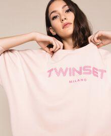 Длинная толстовка с рельефным логотипом Розовый Бутон женщина 201TP2083-01