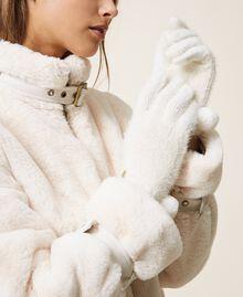 Перчатки из меланжевой пряжи Слоновая кость женщина 202LI4ZTT-0S