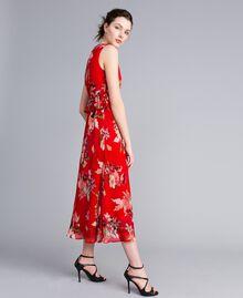 Robe longue en crêpe georgette floral Imprimé Jardin Rouge Femme PA8272-01