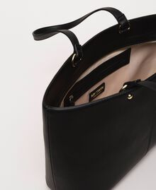 Faux leather shopper with scarf Black Woman 201MA7080-06