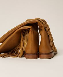 """Leather boots with fringes """"Cigar"""" Beige Woman 212TCP106-05"""