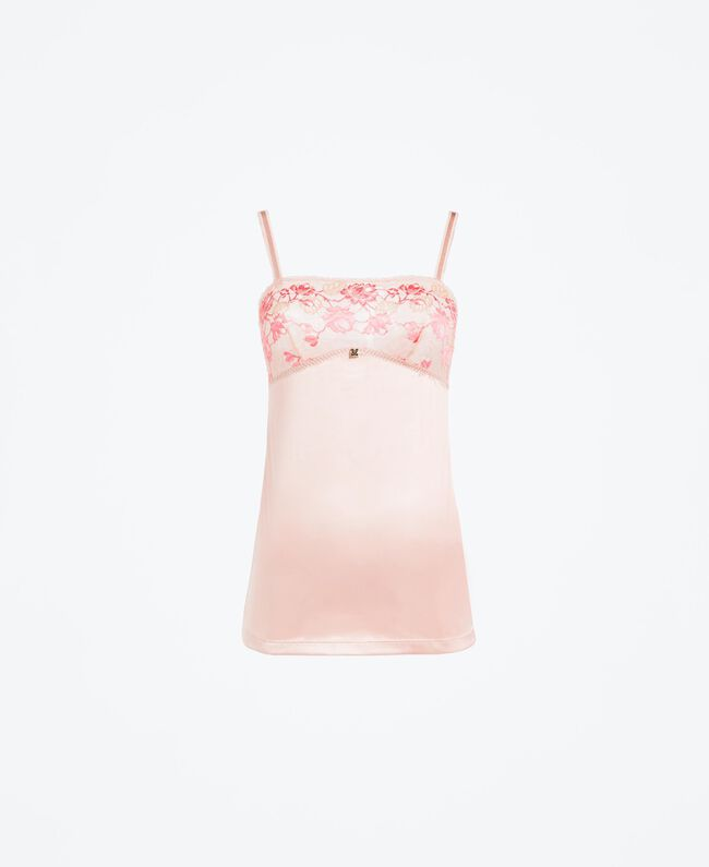 """Top intimo con carré in pizzo bicolore Bicolor Royal Pink / Marrone """"Amber Dust"""" Donna IA8AAA-01"""
