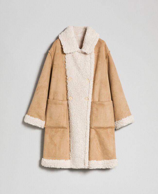 Manteau réversible en faux mouton Blanc «Vanille» / Crème Caramel Femme 192MT2020-0S