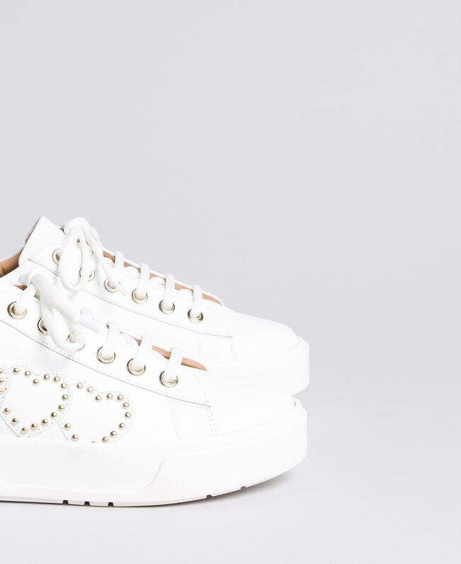 Heart leather sneakers White Woman CA8PAQ-04